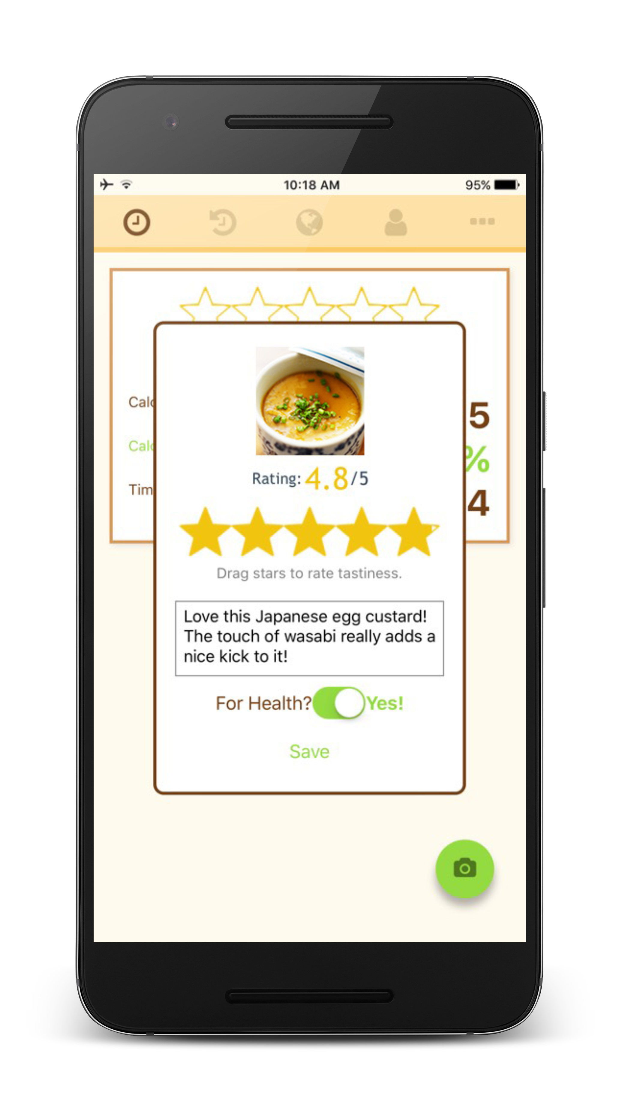 Rating modal egg framed