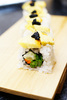 Tuna egg castella maki roll with caviar