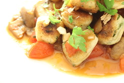 Parisian gnocchi with tomato and plum sake reduction