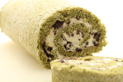 Green tea roll cake with red bean anko paste