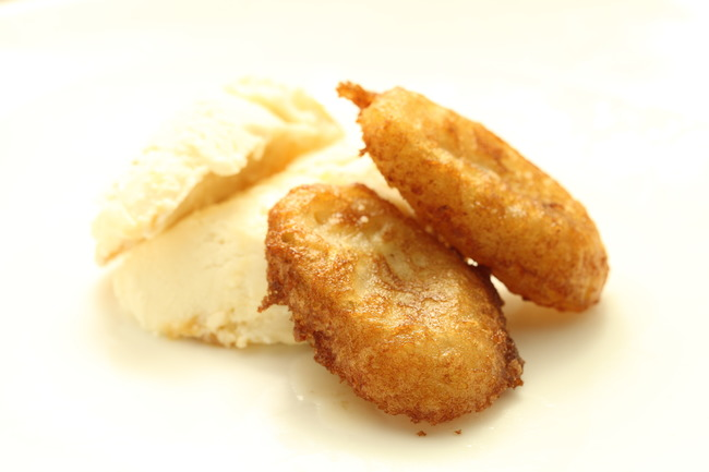 Fried banana in strawberry beer batter with salted caramel ice cream