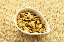 Basil garlic roasted pumpkin seeds