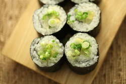 Avocado pickled daikon sushi long roll